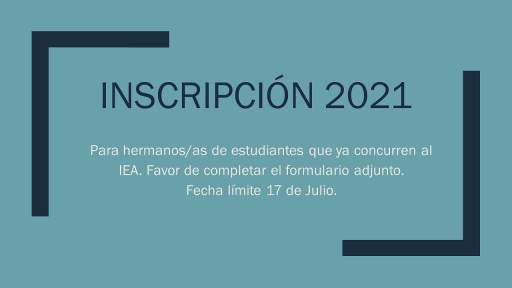 Complete el Formulario si desea matricular hermanos/as en el IEA